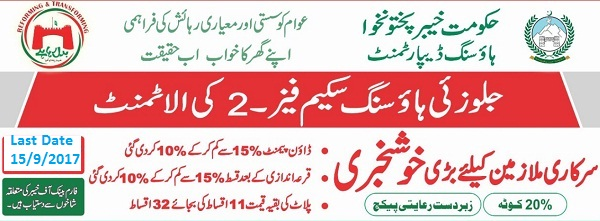 Jallozai Housing Scheme Phase II Peshawar Nowshera - Application Form Submission Last date 15-9-2017