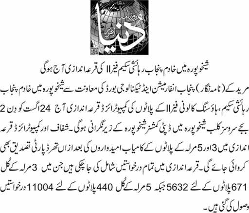 Shaikhupura Khadim e Punjab Housing Scheme Phase-II Balloting or Draw Result Today
