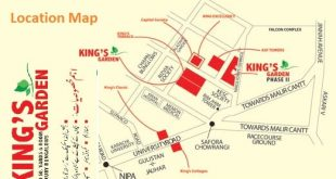 Kings Garden Bungalows Karachi Location Map