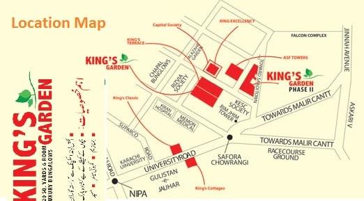 Kings Garden Bungalows Karachi Location Map