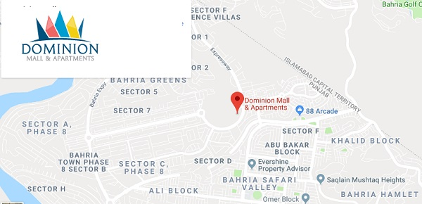 Dominion Mall and Apartments Bahria Town Phase 8 Rawalpindi Islamabad Location Map