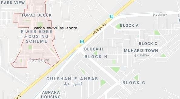 Park View Villas Multan Road Lahore -Location Map