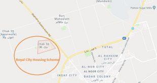 Royal City Housing Scheme Pattoki District Kasur - Proposed Location Map
