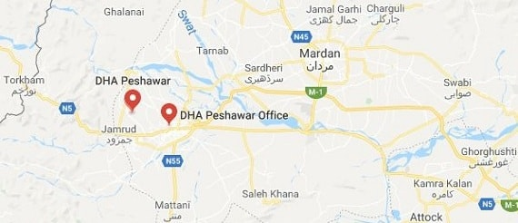 DHA Peshawar Development Work Status in sector A and B-location Map-2 -min