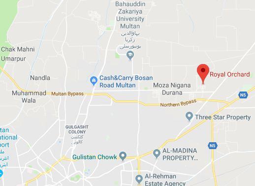 Royal Orchard Multan - Latest Development Status Oct 2018-location Map