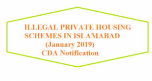 ILLEGAL PRIVATE HOUSING SCHEMES IN ZONES-2, 5 SECTOR Ell, ISLAMABAD - CDA Notification 7 January 2019
