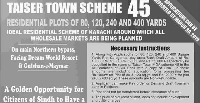 Taiser Town Scheme 45 Karachi – Submit Application Form Till